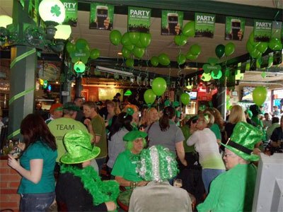 The inside of the pub decorated for St. Patrick's Day Celebrations
